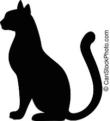 gracieux, silhouette, chat