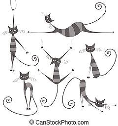 gracieux, ton, rayé, gris, conception, chats