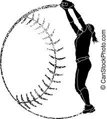 gracioso, silueta, fielder, sofbol