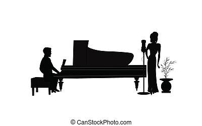 gracz, śpiewak, piano, samica