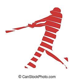gracz, abstrakcyjny, baseball, czerwony