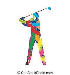 gracz, abstrakcyjny, golf, colorfull