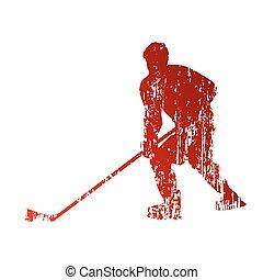 gracz, abstrakcyjny, hokej