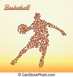 gracz, abstrakcyjny, koszykówka