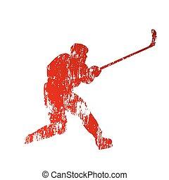 gracz, abstrakcyjny, polowanie, hokej