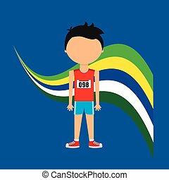 gracz, atletyka, brazylijczyk, rysunek, etykieta