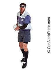 gracz, biały, cięty, rugby, poza