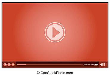 gracz, czerwony, video