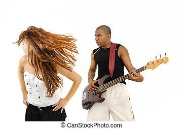 gracz, dziewczyna, bas, taniec