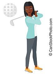 gracz, golf, ball., utrafiając
