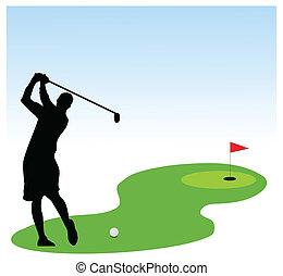gracz, golf, ilustracja