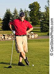 gracz, golf, okrągły, przed