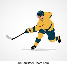 gracz, hokej, ilustracja