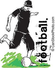 gracz, ilustracja, kopanie, wektor, piłka nożna, ball.