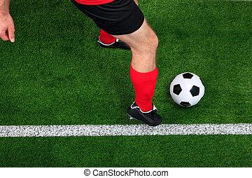 gracz, kapiąc, piłka nożna, na górze