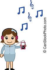 gracz, na, muzyka, mp3, słuchający