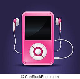 gracz, nowoczesny, mp3, earphones