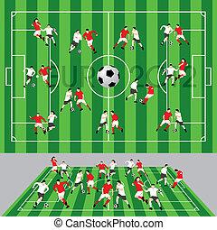 gracz, piłka, futbolowe pole
