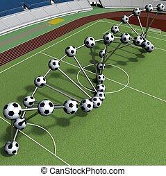 gracz, piłka nożna, dna, zawiązywać
