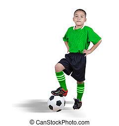 gracz, piłka nożna, dziecko