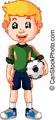 gracz, piłka nożna, samiec, rysunek