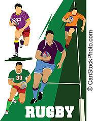 gracz, rugby, zbiór, silhouet