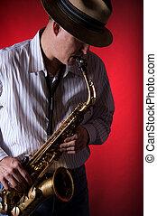 gracz, saksofon, czerwony