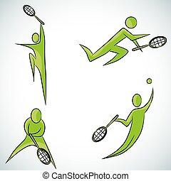 gracz, tenis, komplet, ikona