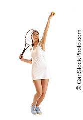 gracz, tenis, młody, atak