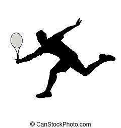 gracz, tenis, odizolowany