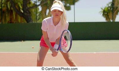 gracz, tenis, zdeterminowany, ładny, blond
