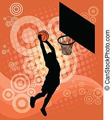 gracz, wektor, -, koszykówka
