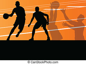 gracze basketballu, sylwetka, wektor, tło, czynny, sport
