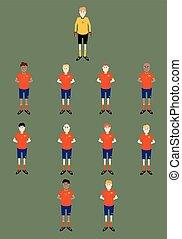 gracze, drużyna, do góry, ilustracja, pole, wektor, smoła, położenie, kreska, piłka nożna