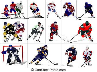 gracze, hokej, lód