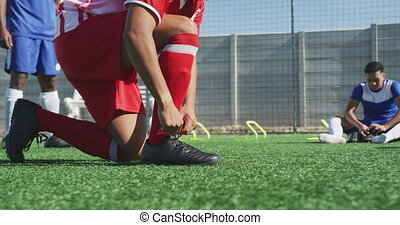 gracze, obuwie, soccer pole, przywiązywanie, jego