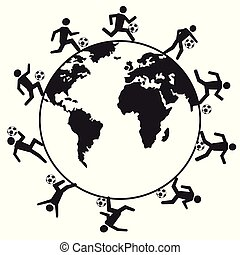 gracze, piłka nożna, dookoła, świat
