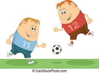 gracze, piłka nożna, grając piłkę nożna