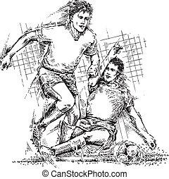 gracze, piłka nożna, rysunek