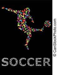 gracze, piłka nożna, sylwetka