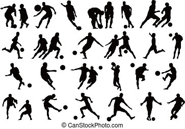 gracze, s, piłka nożna, sylwetka, lekkoatletyka