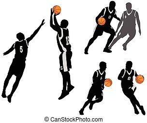 gracze, sylwetka, 2, zbiór, koszykówka