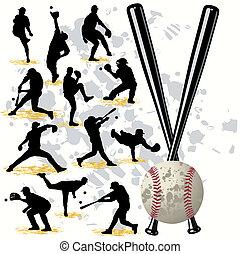 gracze, sylwetka, komplet, baseball