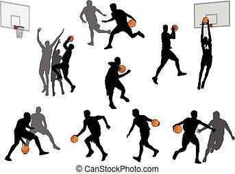 gracze, sylwetka, koszykówka, 3, zbiór