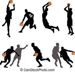gracze, sylwetka, koszykówka, zbiór