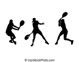 gracze, sylwetka, tenis, trzy