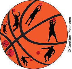 gracze, wektor, -, koszykówka