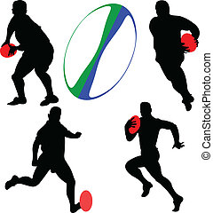 gracze, wektor, -, rugby, zbiór