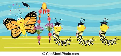 Cute caterpillars with graduation hats and diplomas are transitioning into a butterfly. Eps10