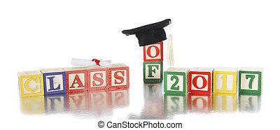 Grad Class of 2017 - Colorful alphabet blocks arranged to...